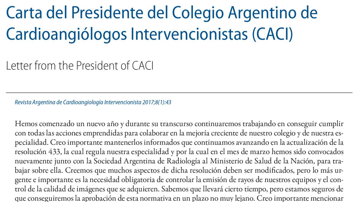 Carta del Presidente del Colegio Argentino de Cardioangiólogos Intervencionistas (CACI)