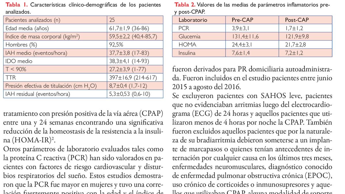 Mediadores inflamatorios en respuesta a la terapia de 7 días con CPAP en pacientes con arritmias cardíacas y SAHOS moderado a severo