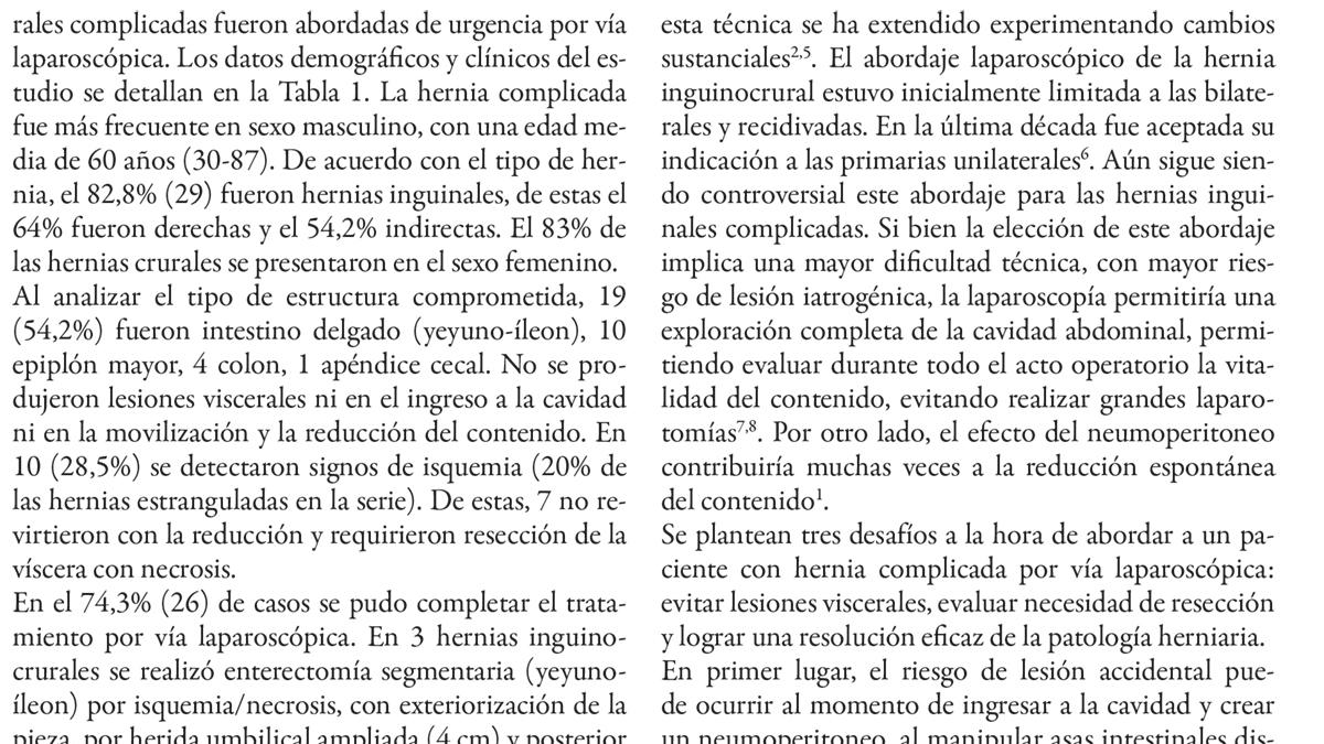 Tratamiento laparoscópico de hernias inguinocrurales complicadas