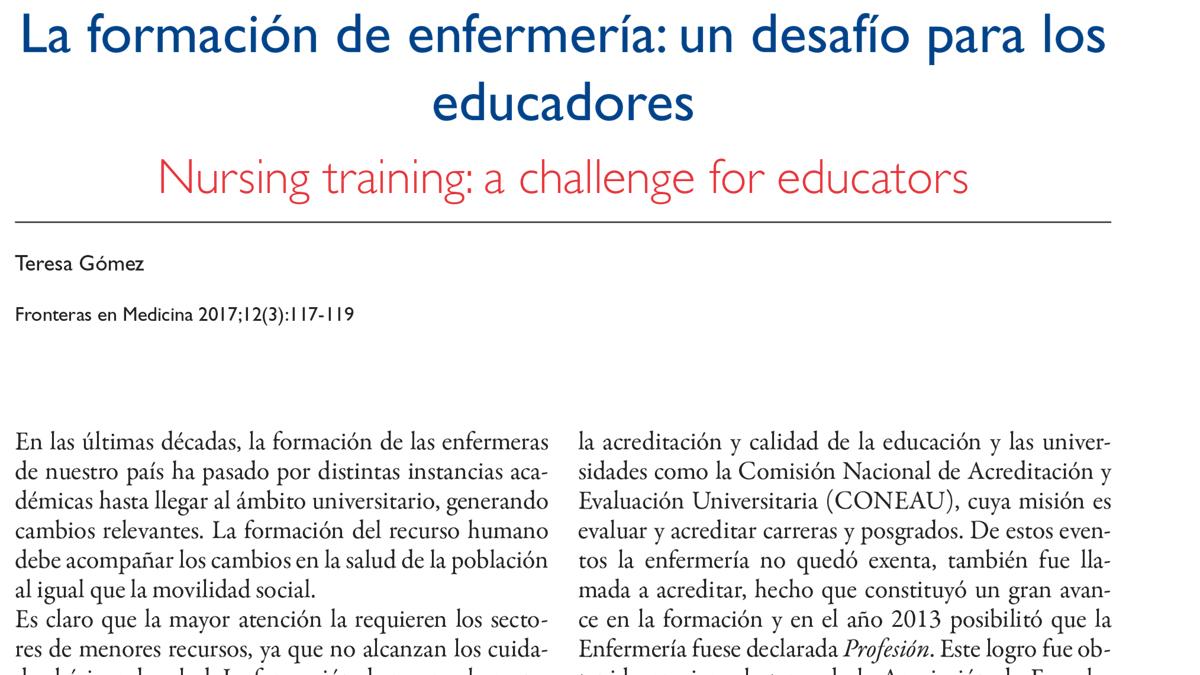 La formación de enfermería: un desafío para los educadores