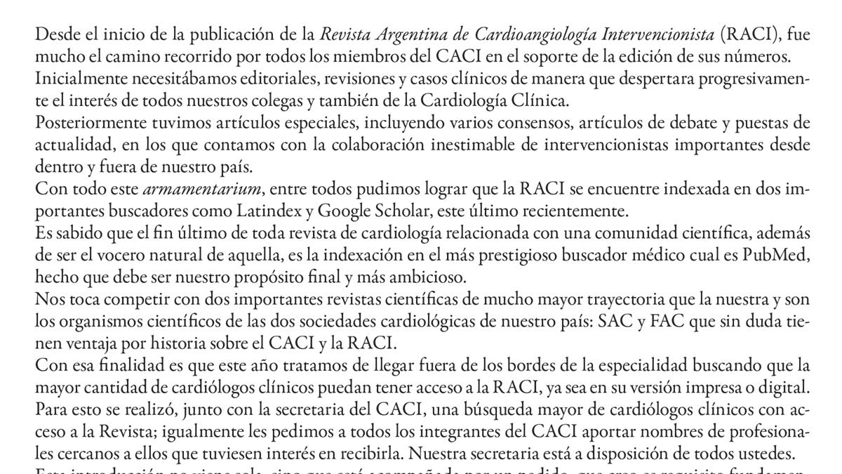 El largo camino hacia la indexación de la Revista Argentina de Cardioangiología Intervencionista