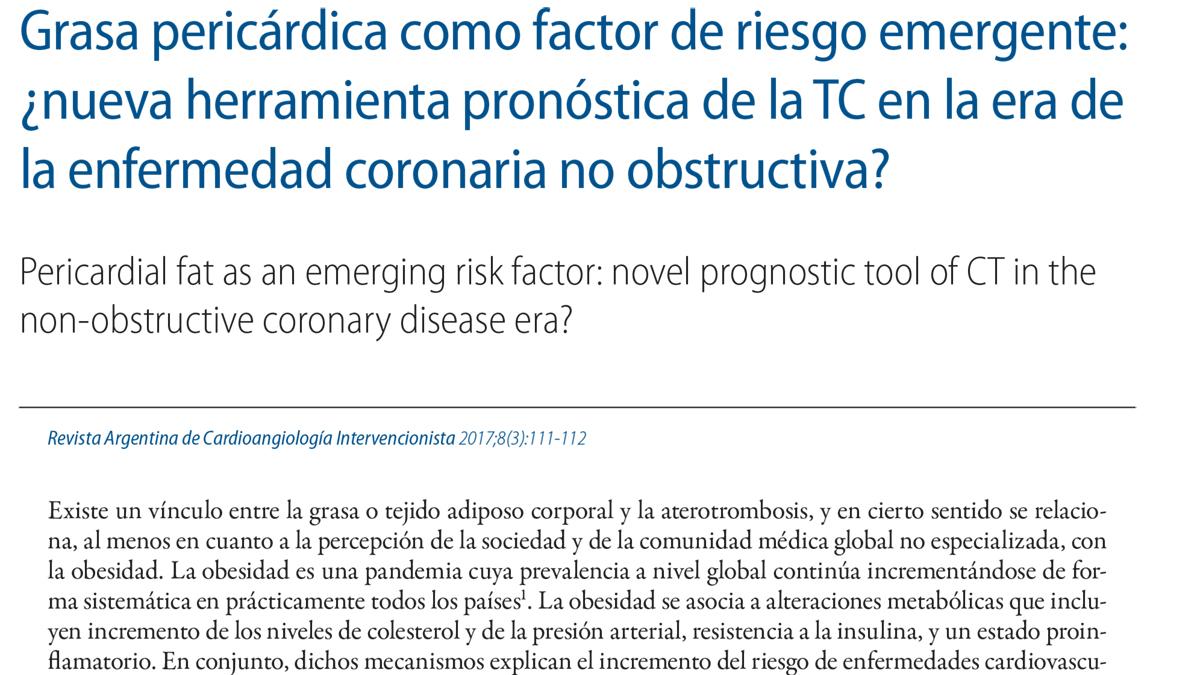 Grasa pericárdica como factor de riesgo emergente: ¿nueva herramienta pronóstica de la TC en la era de la enfermedad coronaria no obstructiva?