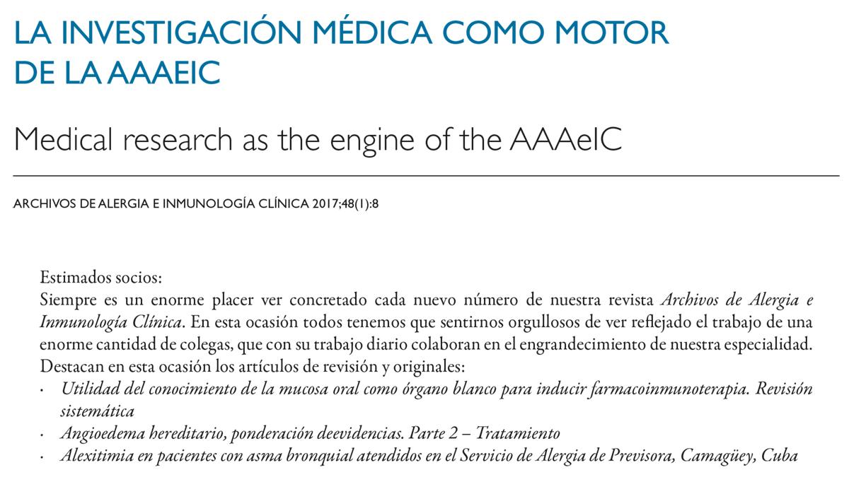 La investigación médica como motor de la AAAeIC