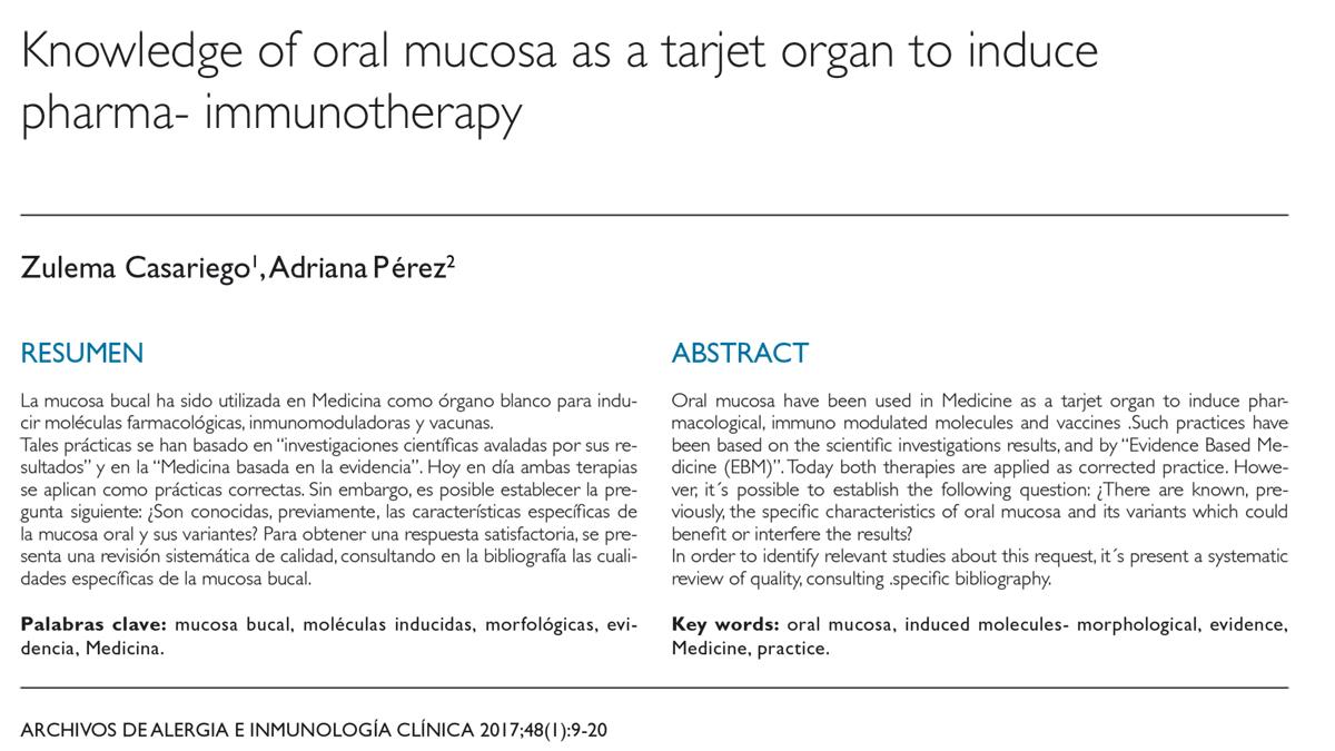 Utilidad del conocimiento de la mucosa oral como órgano blanco para inducir farmacoinmunoterapia. Revisión sistemática