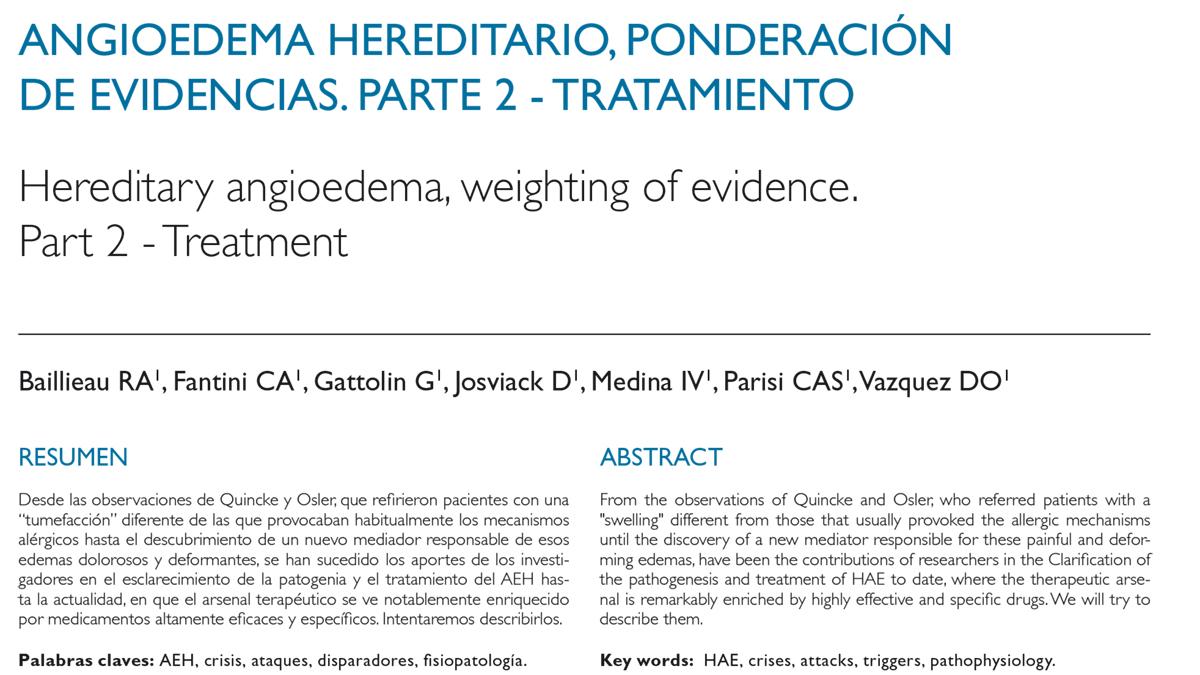 Angioedema hereditario, ponderación  de evidencias. Parte 2 - Tratamiento
