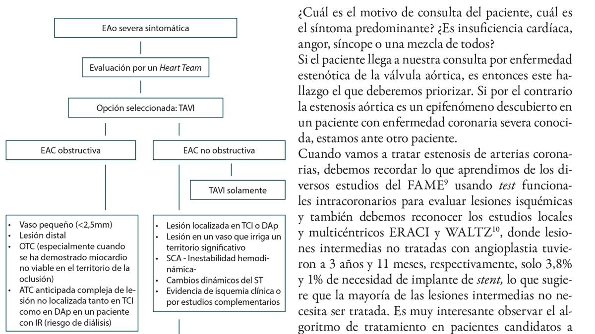 Enfermedad coronaria en pacientes candidatos a reemplazo percutáneo de válvula aórtica:  qué debemos y qué no debemos hacer,  desde la evidencia clínica al sentido común