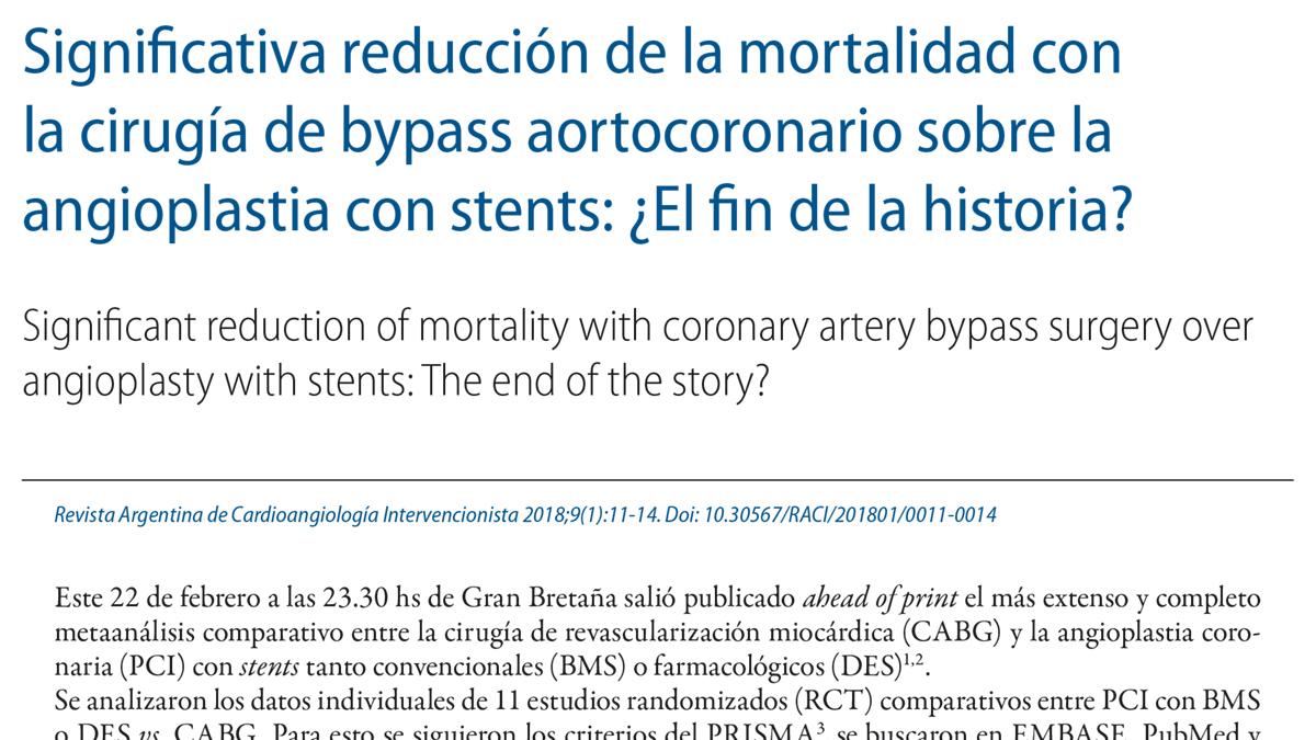 Significativa reducción de la mortalidad con la cirugía de bypass aortocoronario sobre la angioplastia con stents: ¿El fin de la historia?