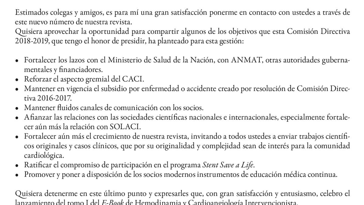 Carta del Presidente del CACI
