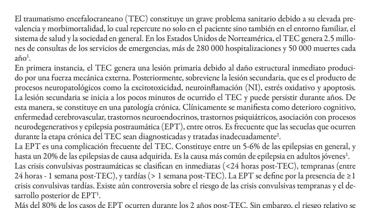 Relación entre la severidad del traumatismo craneoencefálico y el inicio de crisis  convulsivas postraumáticas