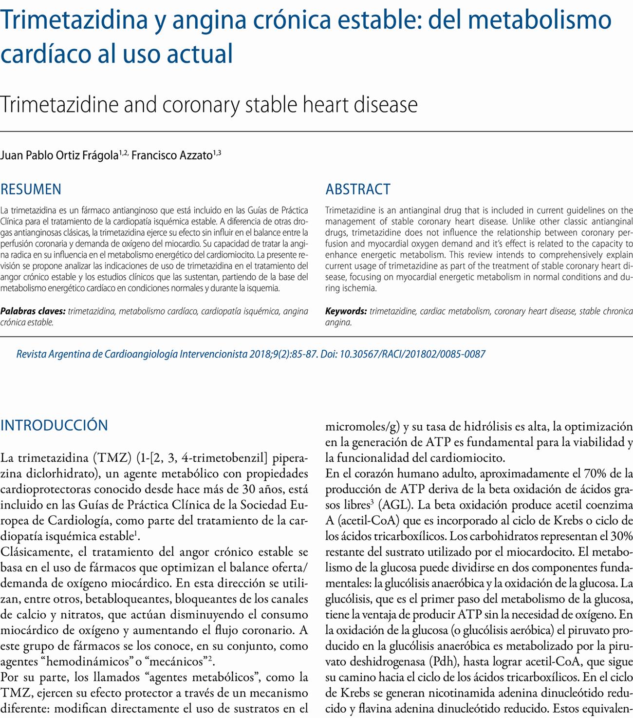 Trimetazidina y angina crónica estable: del metabolismo cardíaco al uso actual