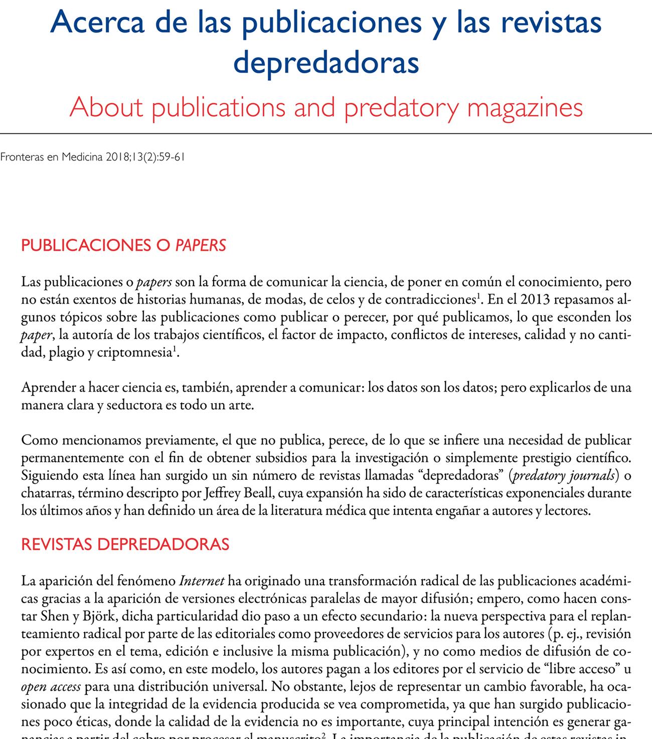 Acerca de las publicaciones y las revistas depredadoras