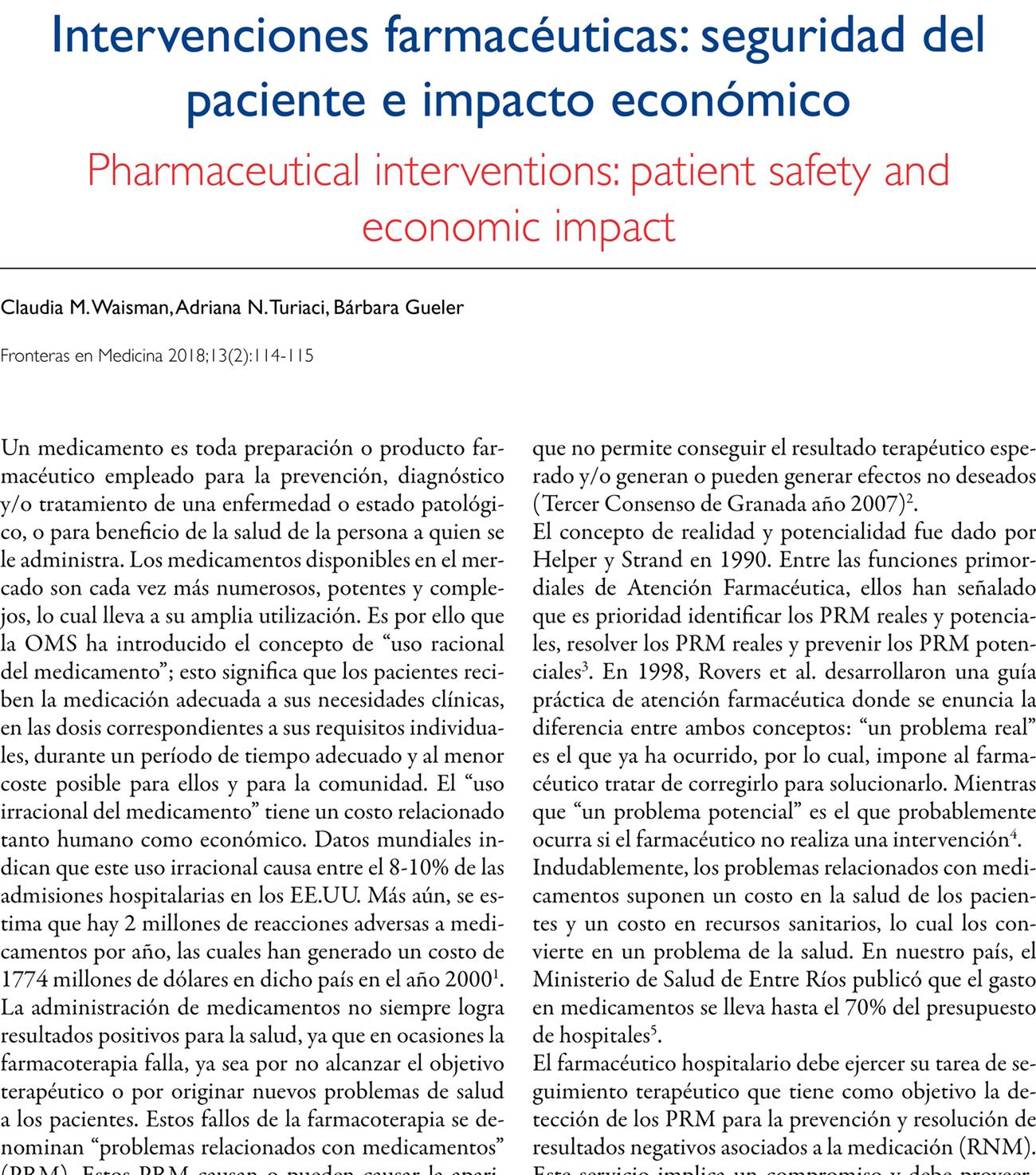 Intervenciones farmacéuticas: seguridad del paciente e impacto económico