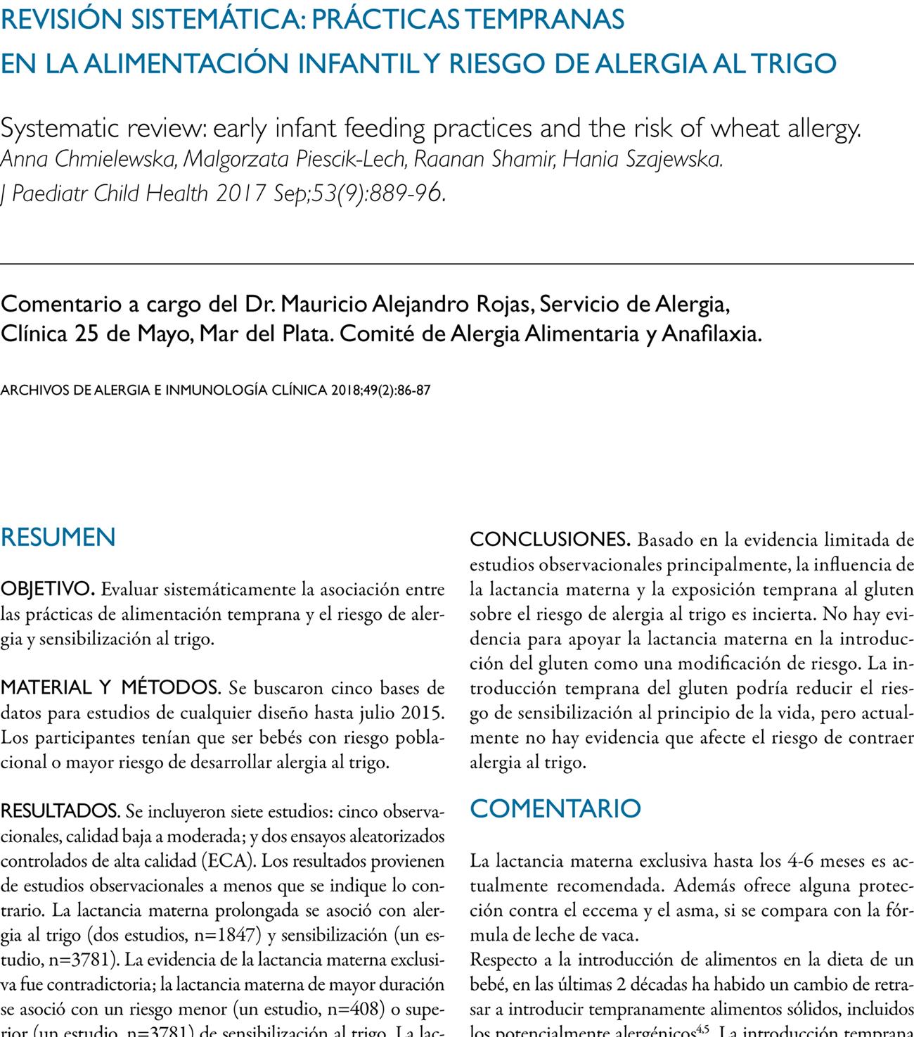 Revisión sistemática: prácticas tempranas  en la alimentación infantil y riesgo de alergia al trigo
