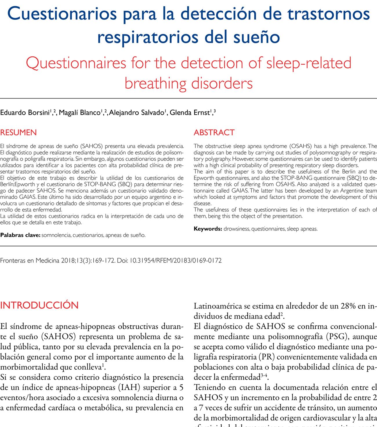Cuestionarios para la detección de trastornos respiratorios del sueño