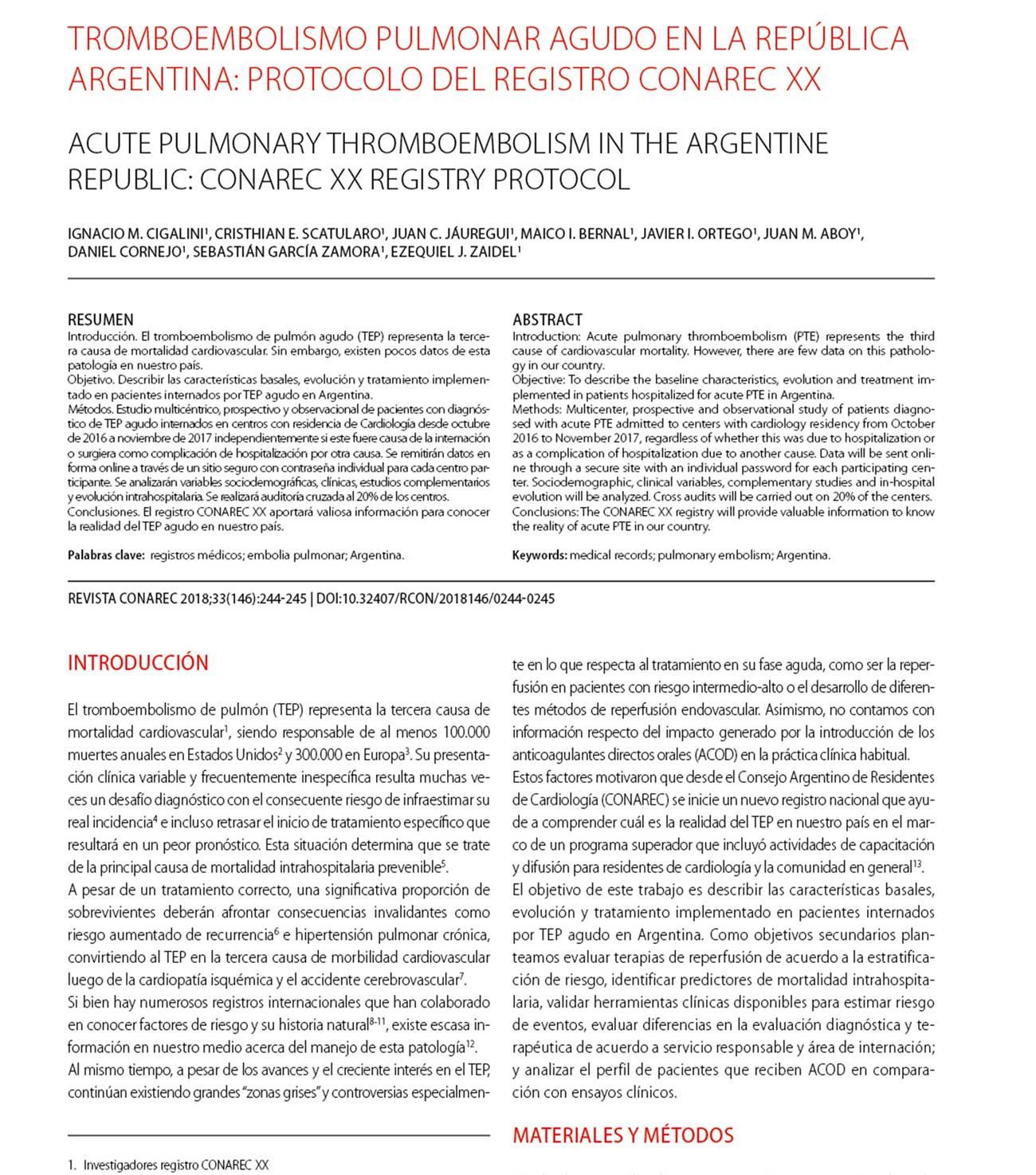 Tromboembolismo pulmonar agudo en la República Argentina: protocolo del Registro CONAREC XX.