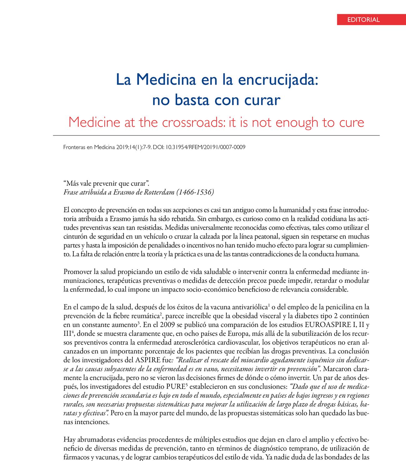 La Medicina en la encrucijada: no basta con curar