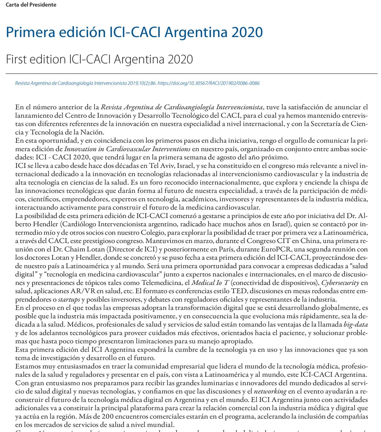 Primera edición ICI-CACI Argentina 2020