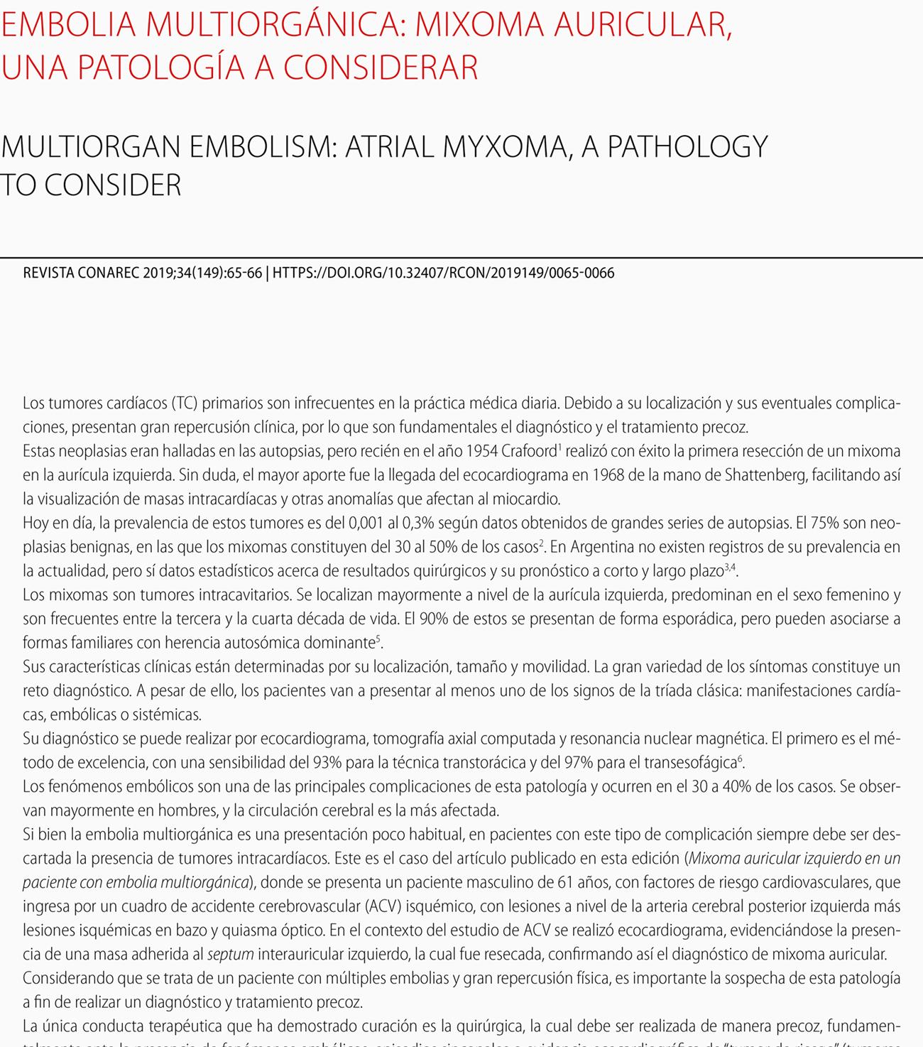 Embolia multiorgánica: mixoma auricular, una patología a considerar