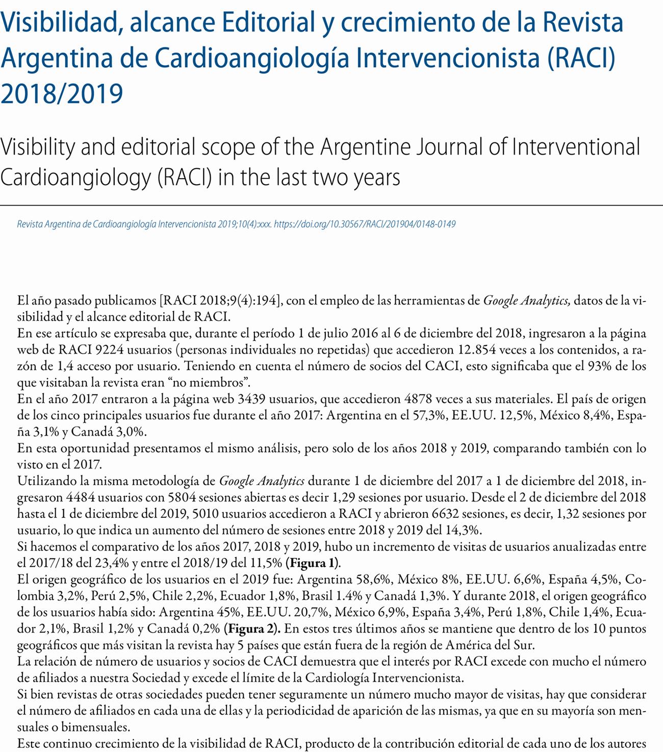 Visibilidad, alcance Editorial y crecimiento de la Revista Argentina de Cardioangiología Intervencionista (RACI) 2018/2019