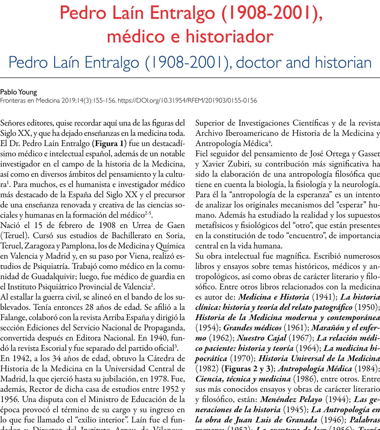 Pedro Laín Entralgo (1908-2001),  médico e historiador