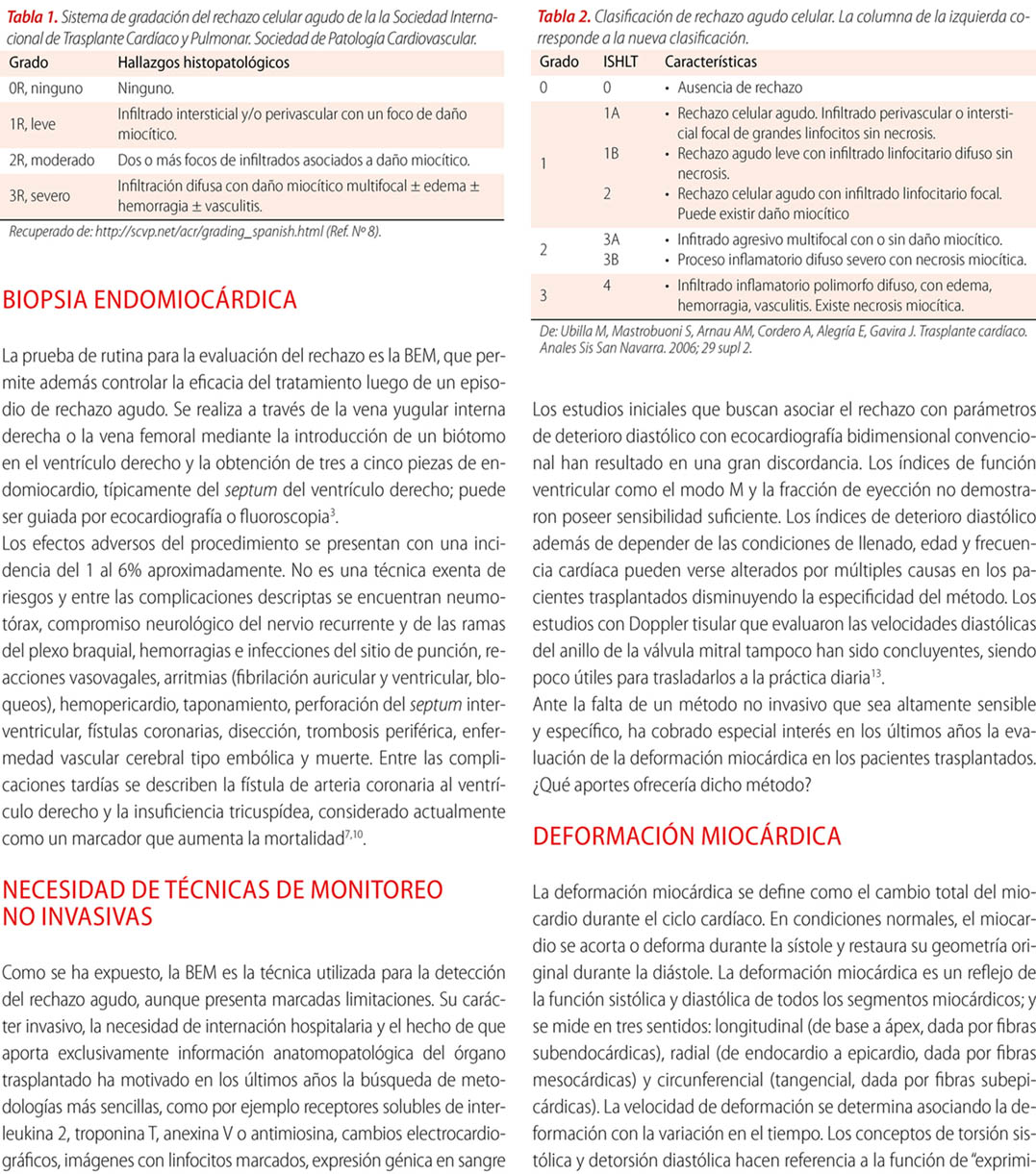 Deformación miocárdica como método alternativo a la biopsia para el diagnóstico de rechazo  de trasplante cardíaco