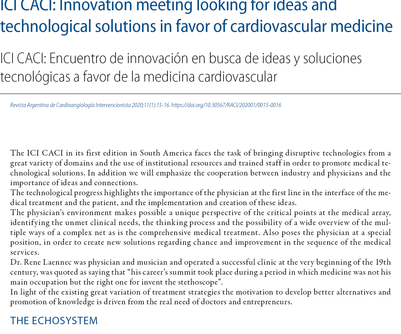 ICI CACI: Innovation meeting looking for ideas and technological solutions in favor of cardiovascular medicine