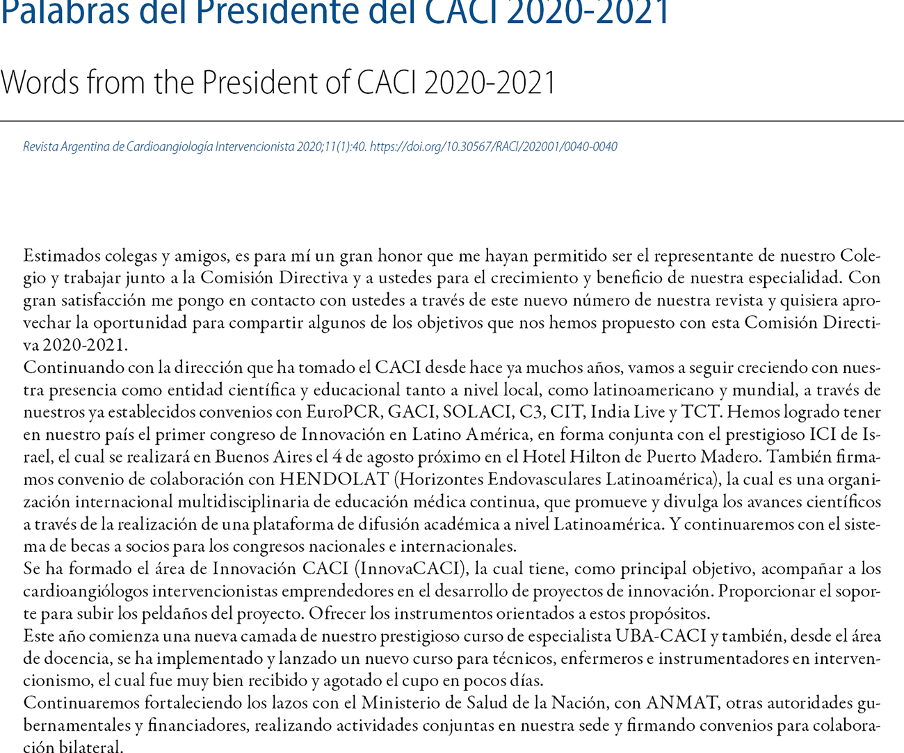 Palabras del Presidente del CACI 2020-2021