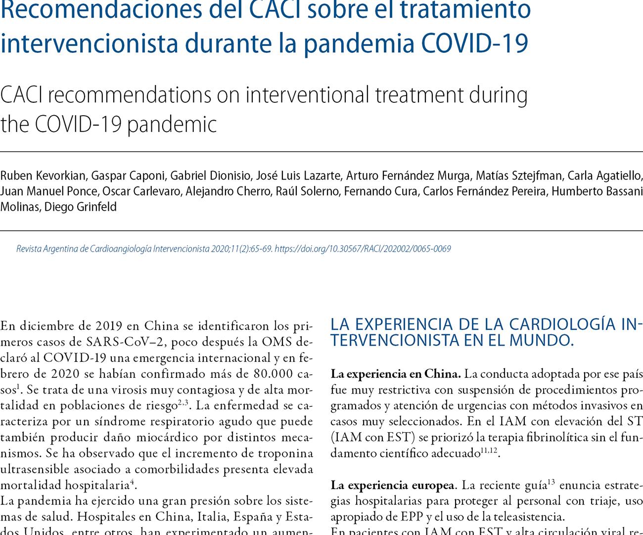 Recomendaciones del CACI sobre el tratamiento intervencionista durante la pandemia COVID-19