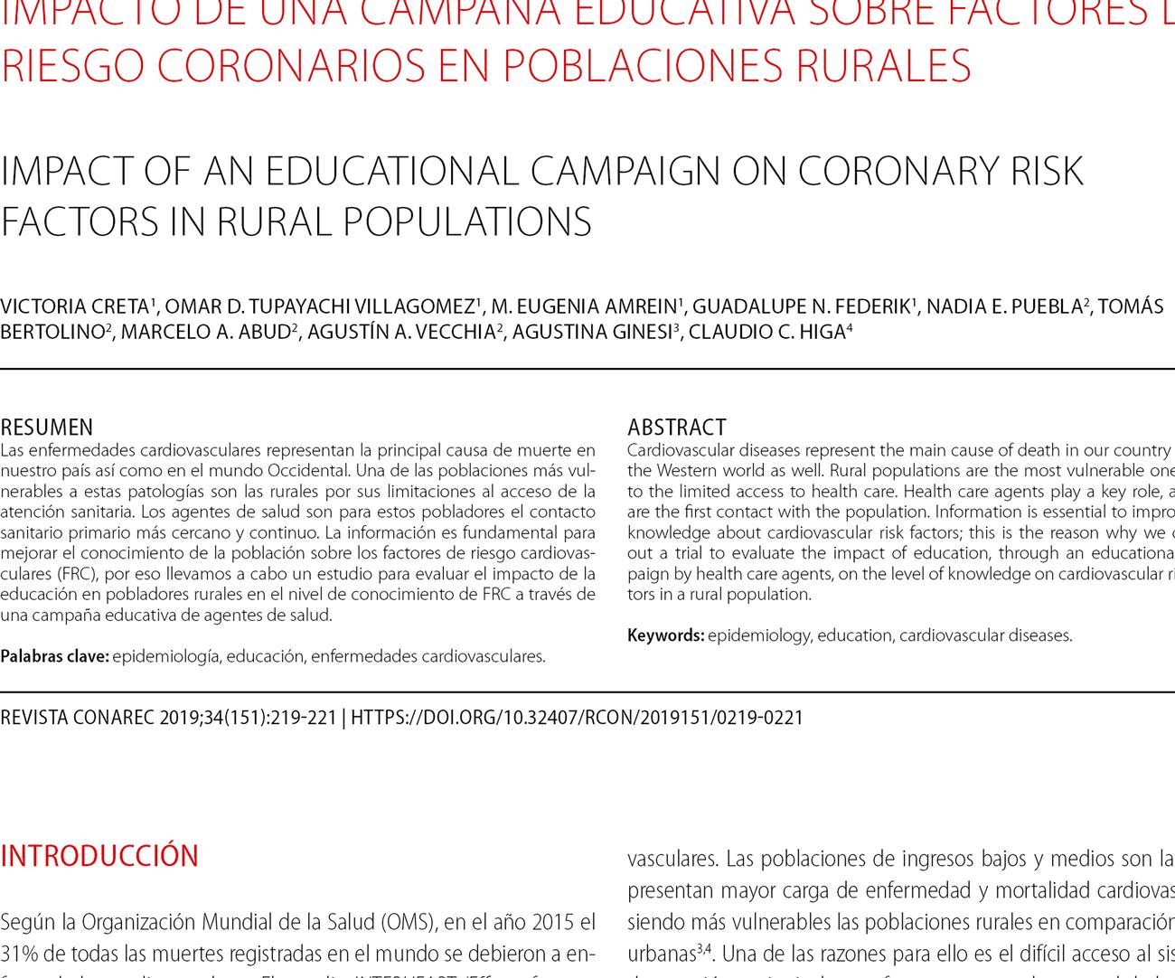 Impacto de una campaña educativa sobre factores de riesgo coronarios en poblaciones rurales