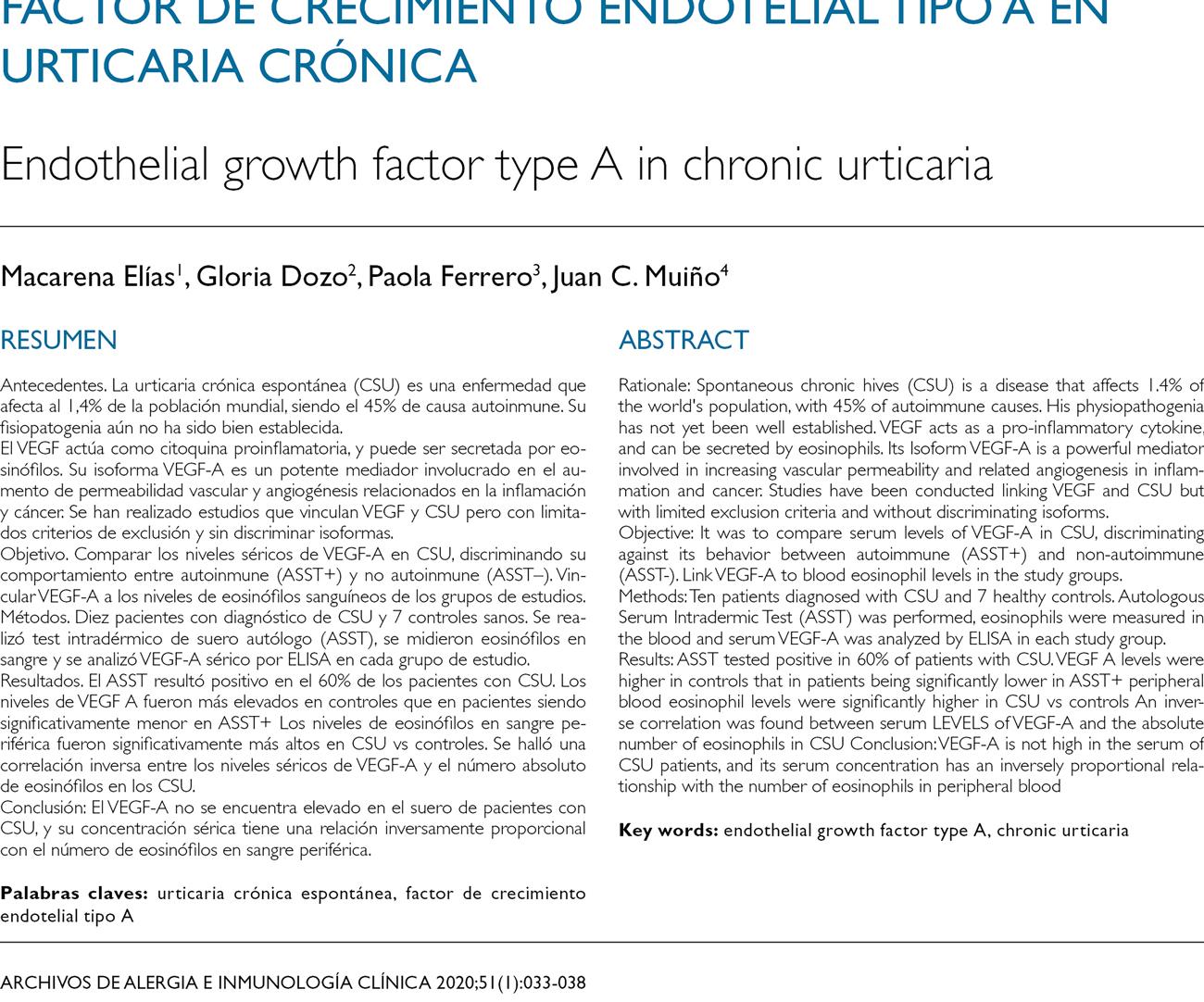 Factor de crecimiento endotelial tipo A en urticaria crónica