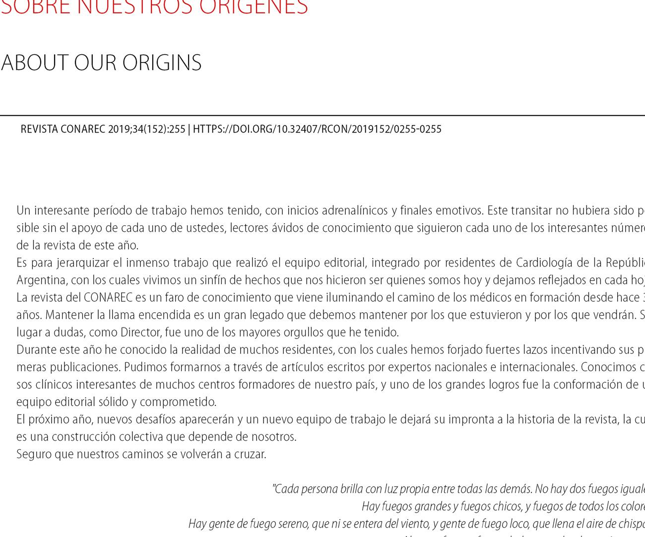 Sobre nuestros orígenes