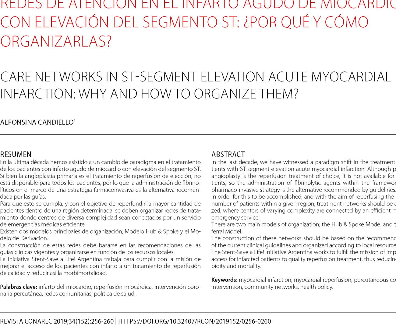 Redes de atención en el infarto agudo de miocardio con elevación del segmento ST: ¿por qué y cómo organizarlas?