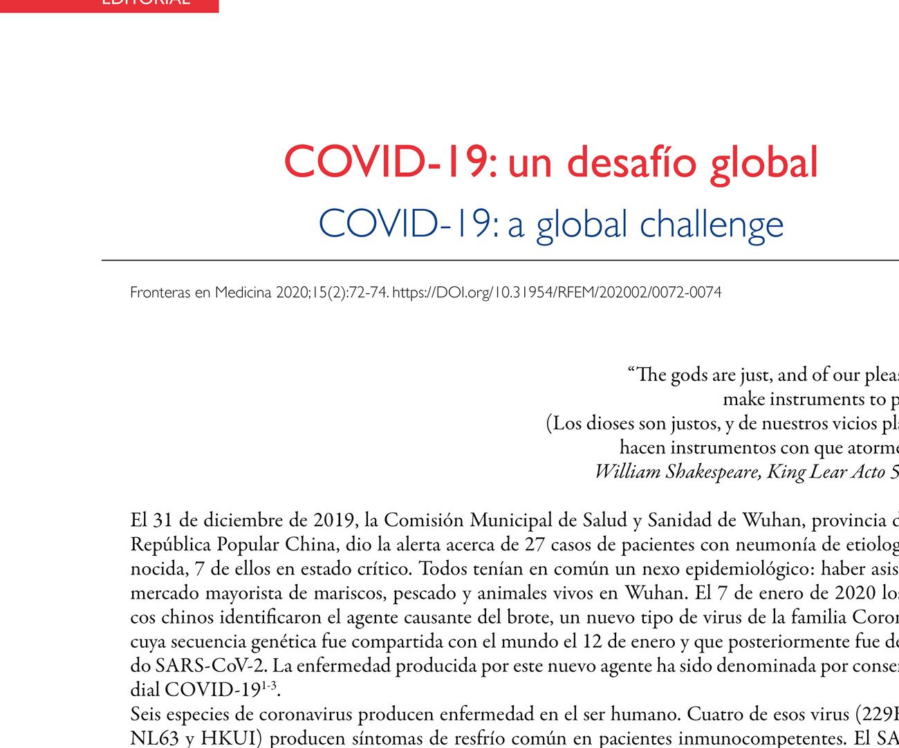 COVID-19: un desafío global