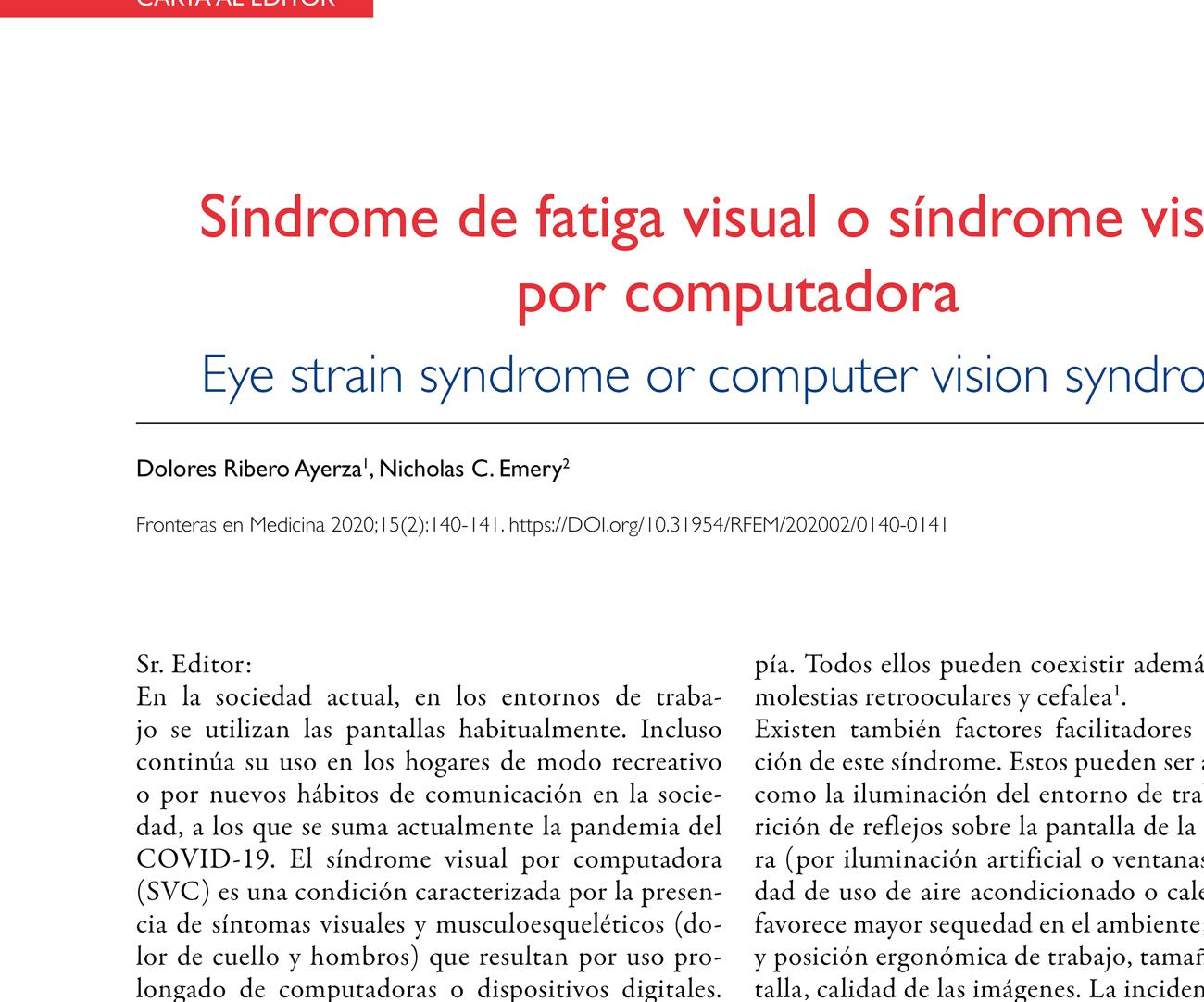 Síndrome de fatiga visual o síndrome visual  por computadora