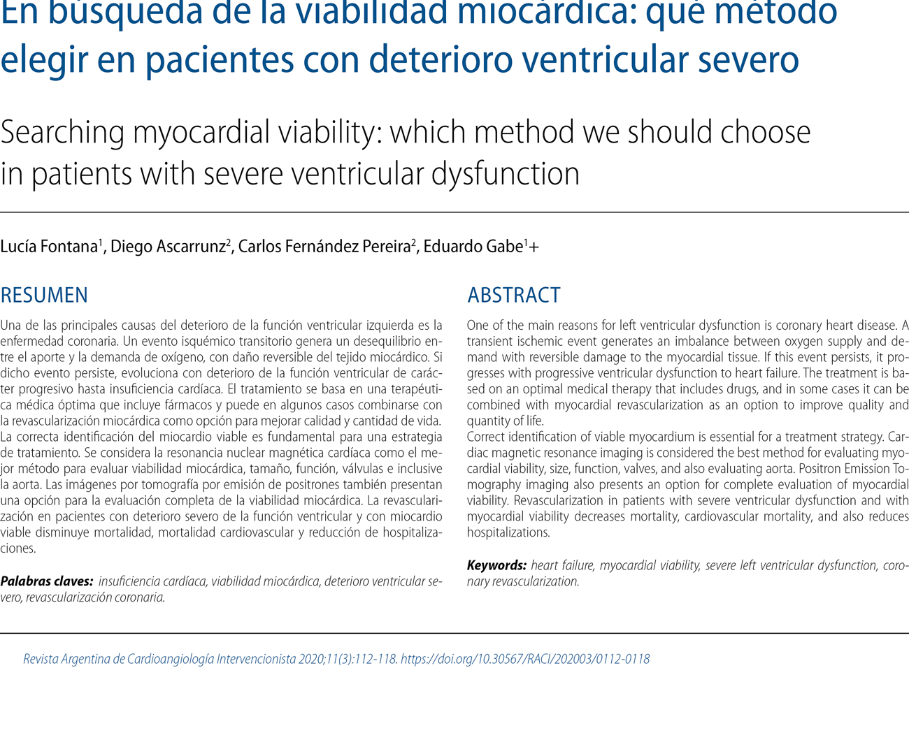 En búsqueda de la viabilidad miocárdica: qué método elegir en pacientes con deterioro ventricular severo