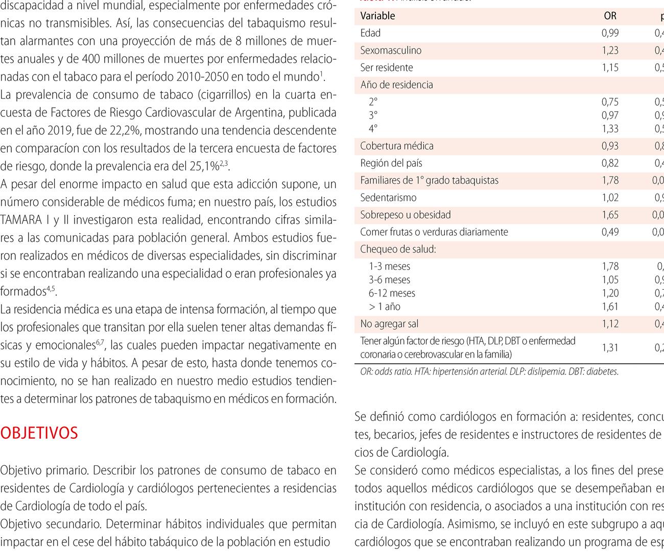Patrones de consumo de tabaco en residentes  y cardiólogos argentinos. Subanálisis  de la encuesta sobre Factores de Riesgo Cardiovascular en Cardiólogos Argentinos (FRiCCAr)