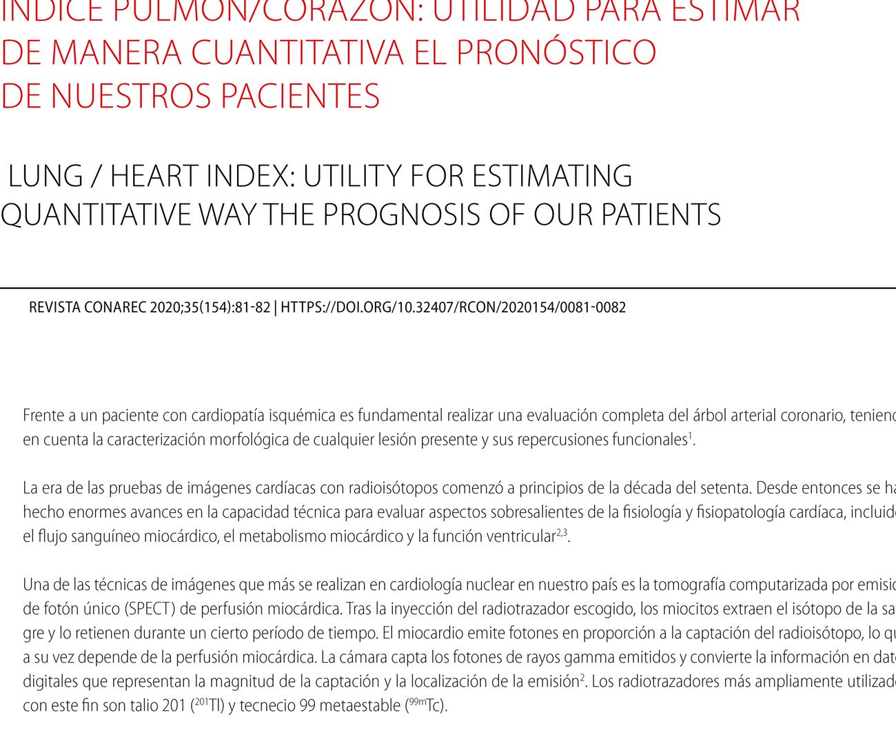 Índice pulmón/corazón: utilidad para estimar  de manera cuantitativa el pronóstico  de nuestros pacientes