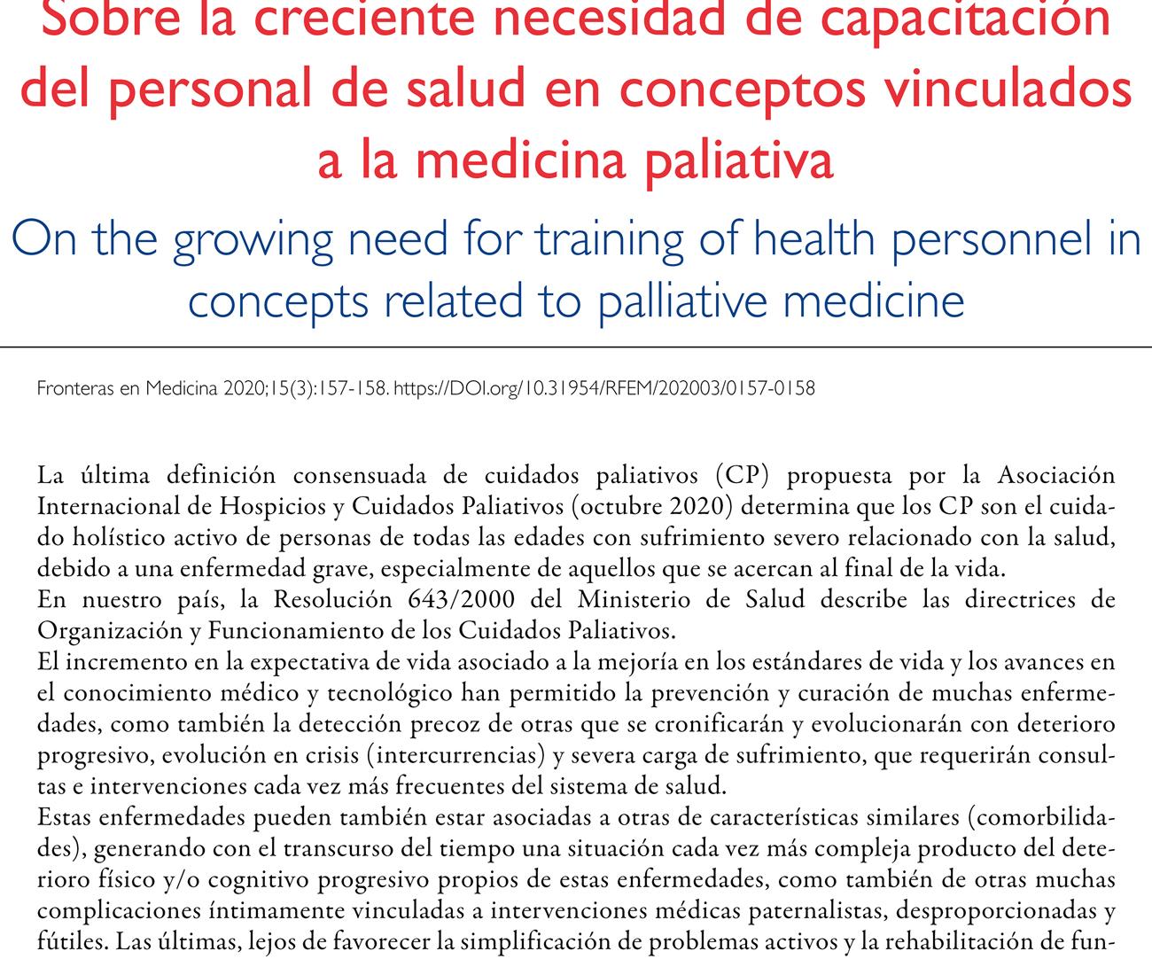 Sobre la creciente necesidad de capacitación del personal de salud en conceptos vinculados a la medicina paliativa