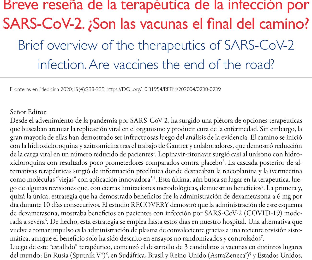Breve reseña de la terapéutica de la infección por SARS-CoV-2. ¿Son las vacunas el final del camino?