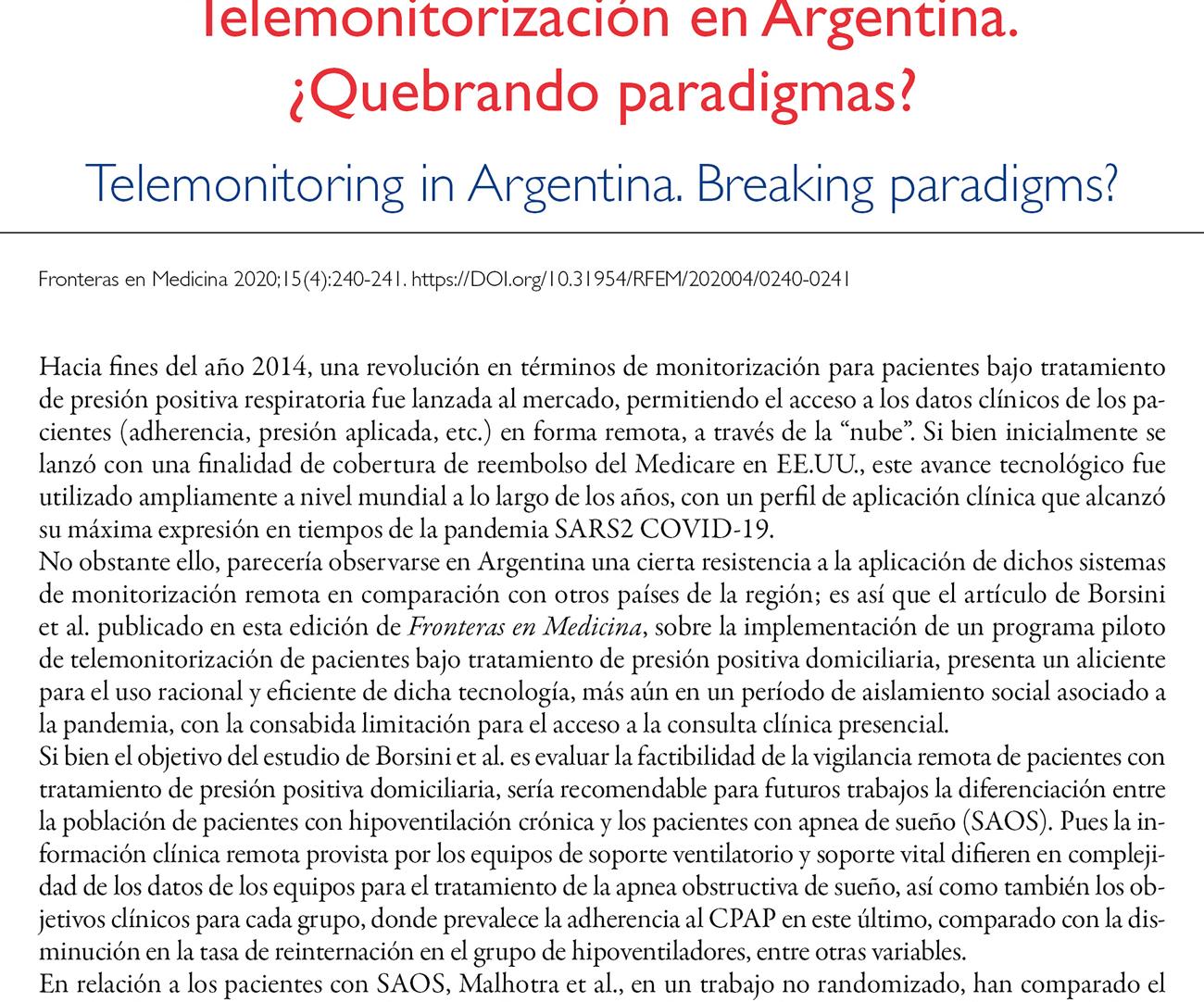 Telemonitorización en Argentina.  ¿Quebrando paradigmas?