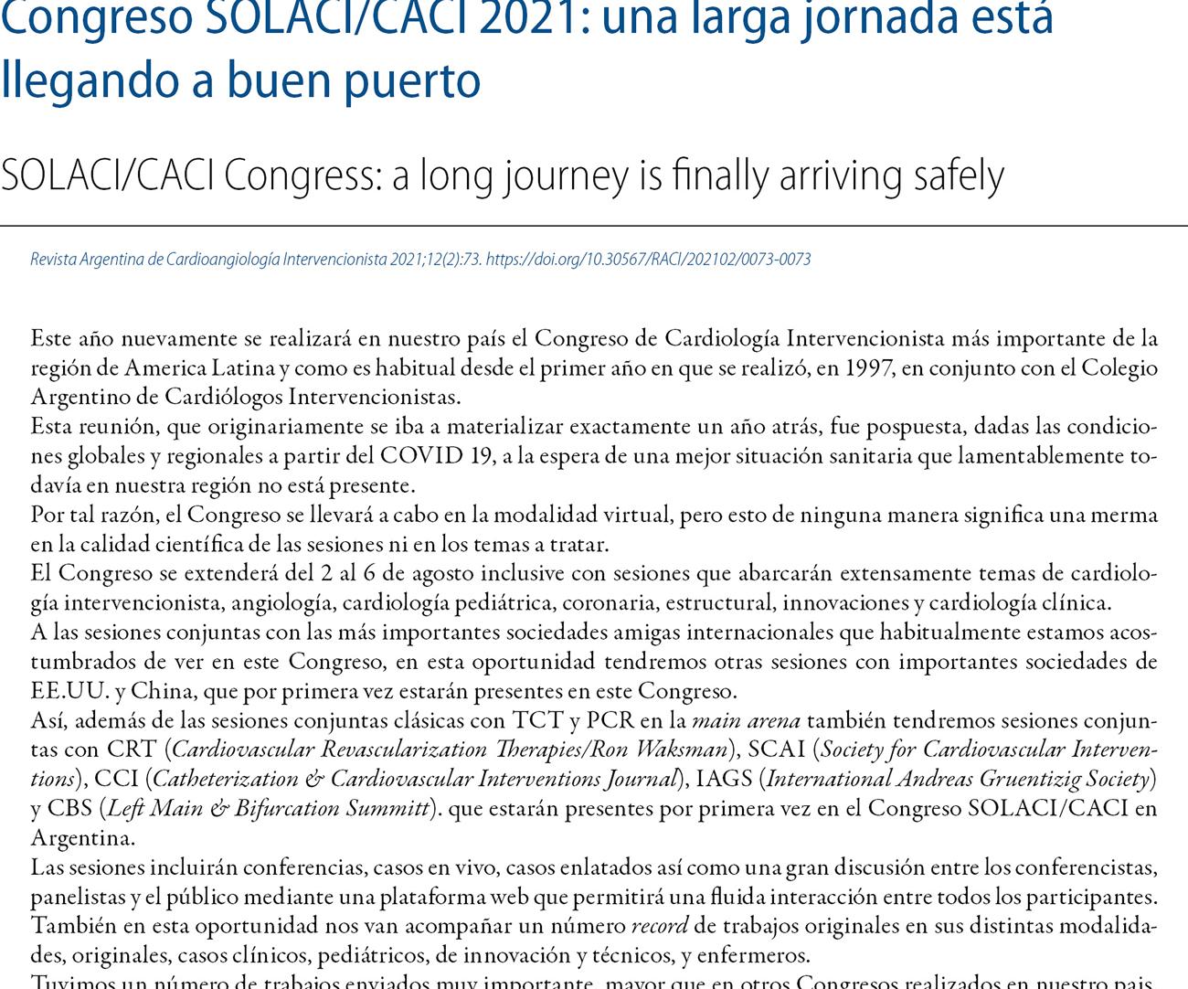 Congreso SOLACI/CACI 2021: una larga jornada está llegando a buen puerto