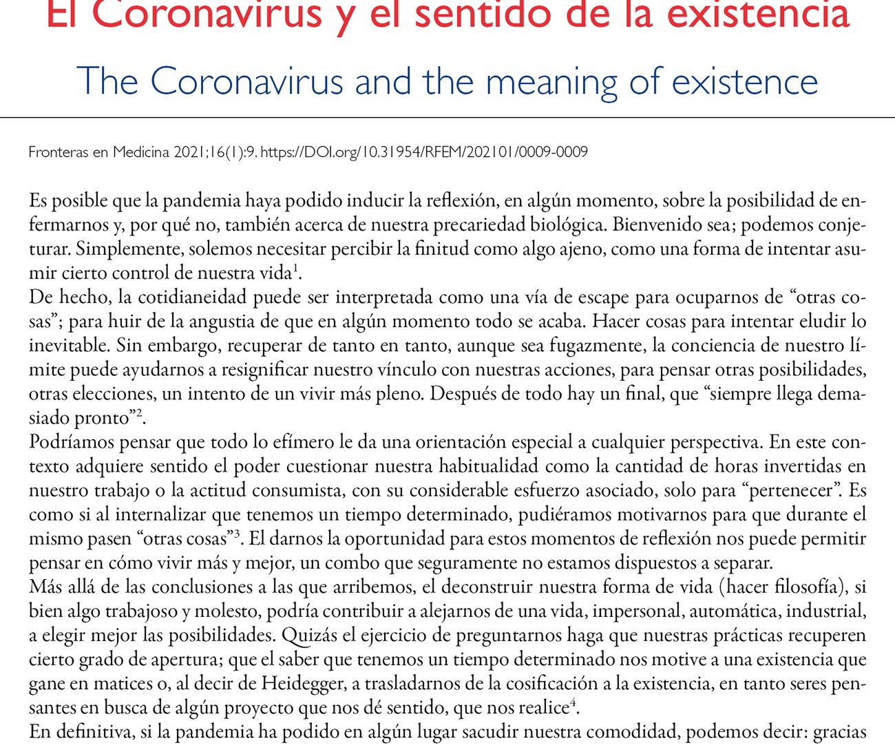 El Coronavirus y el sentido de la existencia