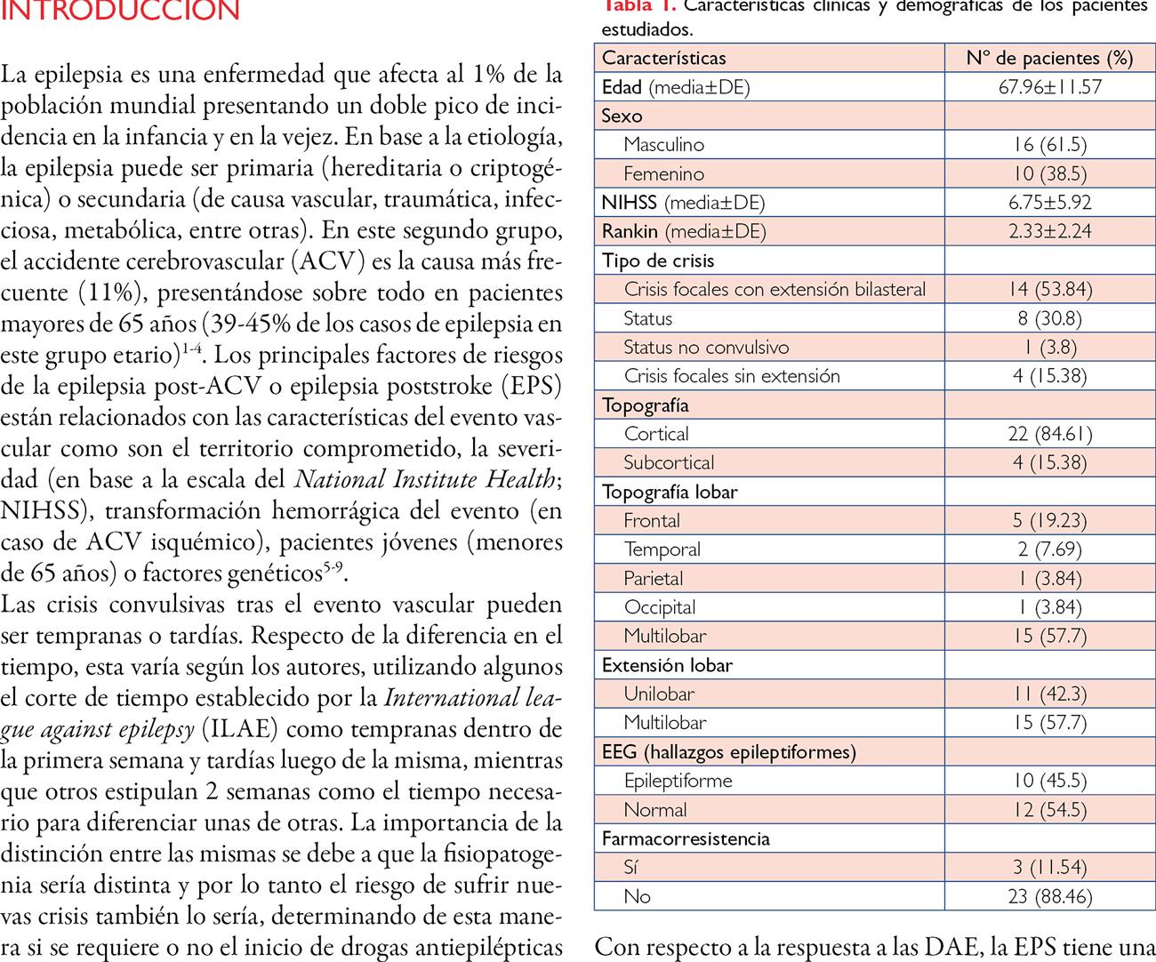 Epilepsia post accidente cerebrovascular isquémico: relación entre el evento vascular, la epilepsia y la farmacorresistencia