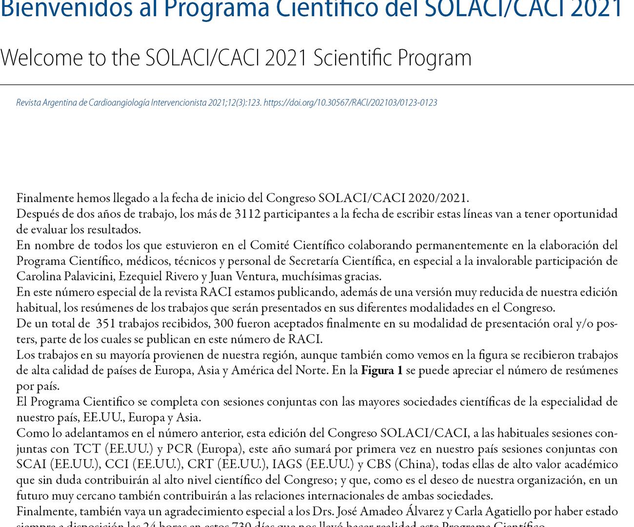 Bienvenidos al Programa Científico del SOLACI/CACI 2021