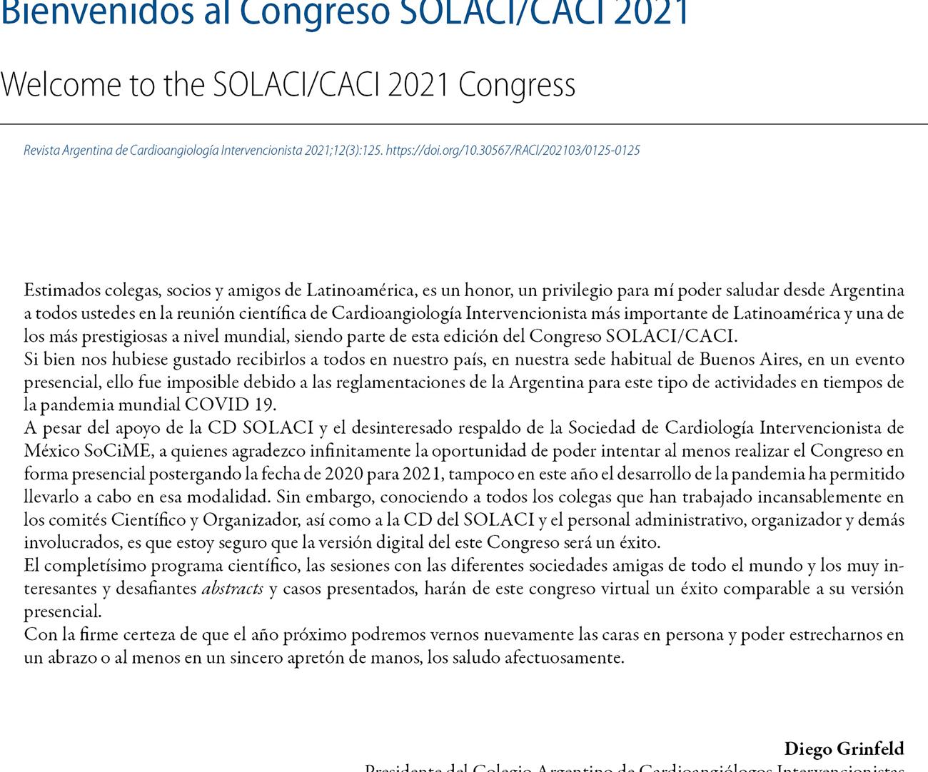 Bienvenidos al Congreso SOLACI/CACI 2021