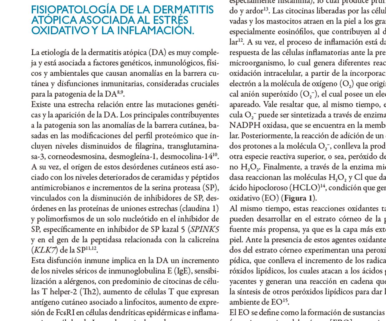 Generalidades de la dermatitis atópica y su vinculación con la respuesta inflamatoria y el estrés oxidativo