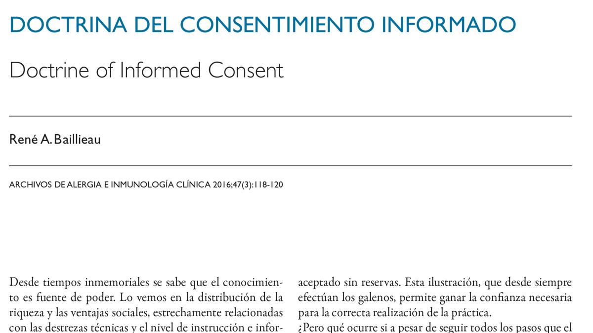 Doctrina del Consentimiento Informado